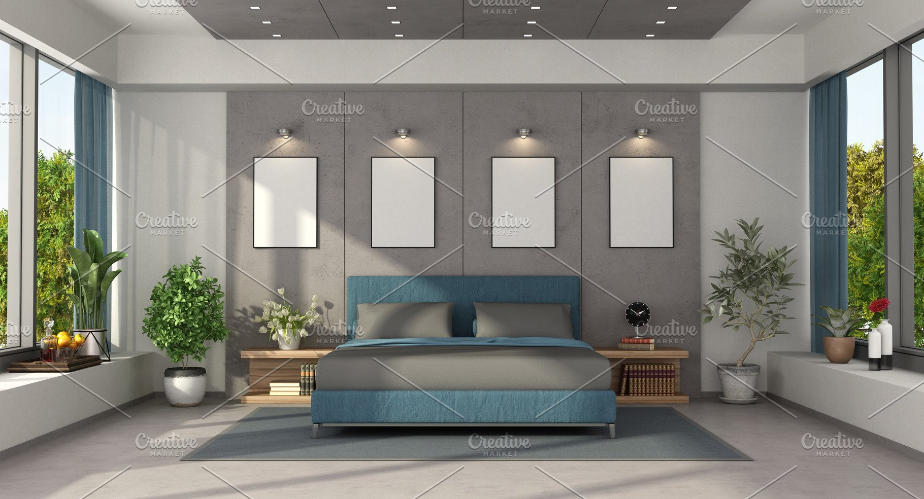 Modern master bedroom with blue doub