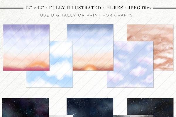Sky & Galaxy Texture Paper Set
