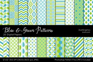 Blue And Green Digital Papers