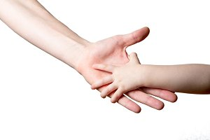 children and man hands isolated on w