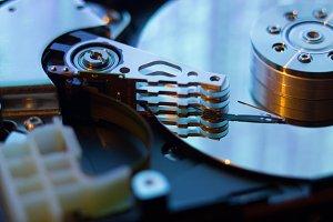 close up of hard disk