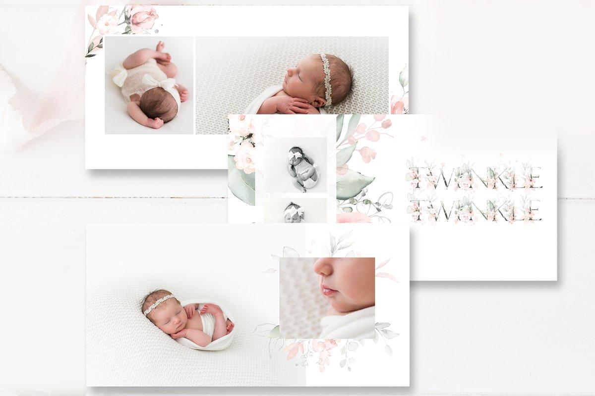Floral Girls Baby Photo Album PSD