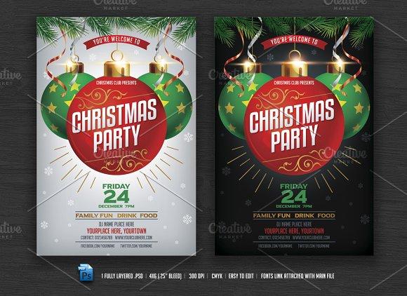 christmas party flyer flyer templates creative market
