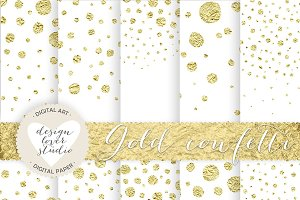 Gold foil confetti digital paper