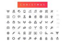 Christmas Outline Icons Set
