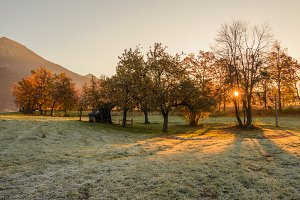 Sunrise in the fields with cottage