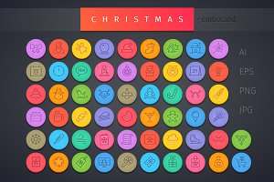 Christmas Round Embossed Icons Set