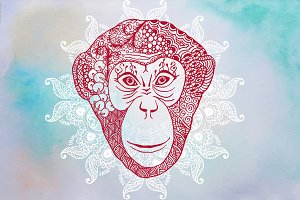 Monkey Zentangle Inspired