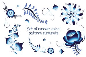 Set of russian gzhel pattern element