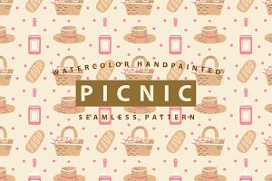 Picnic Watercolor Seamless Pattern