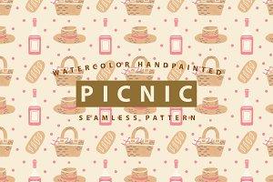 Picnic Watercolor Seamless Pattern