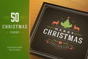 50 Christmas greeting cards + bonus