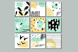 Set of 9 creative universal cards.