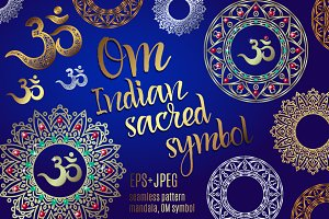 The sacred symbol Om, Mandala. Set.