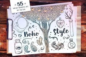 55 Boho Style Vector Set + Bonus