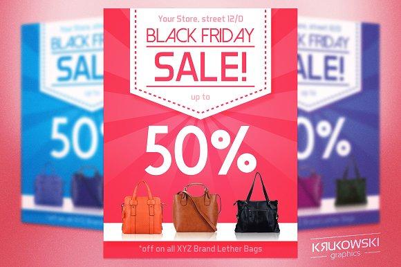 pink black friday flyer template flyer templates on creative market. Black Bedroom Furniture Sets. Home Design Ideas
