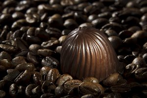 Chocolate candy and coffee beans