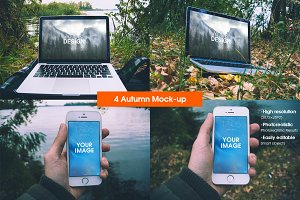 4 Autumn Mock-up | MacBook, iPhone 5