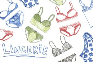 Lingerie felt-tip pen illustrations