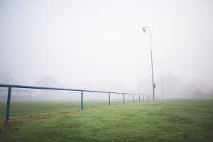 Foggy Football Pitch in the Morning