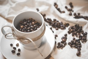 Coffee Cup and Beans Still Life