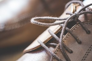 Brown Leather Shoes Shoelaces Close