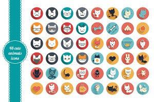 48 cute animals icons