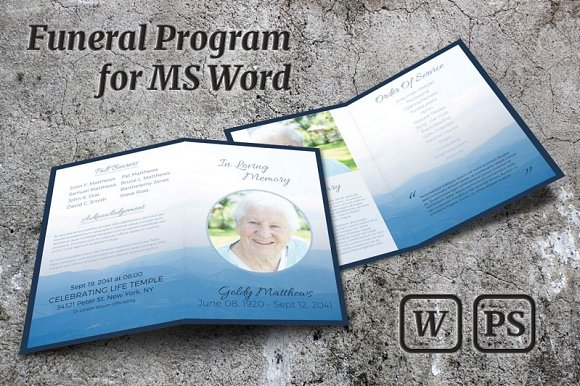 Memorial Service Program Template Brochure Templates Creative Market