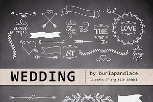 Chalkboard wedding cliparts