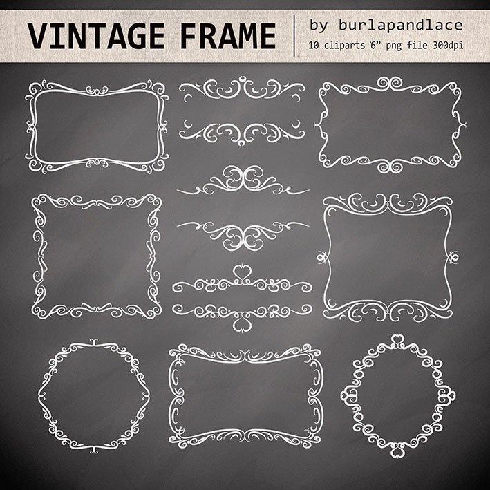 Chalkboard Swirls Digital Frames ~ Illustrations ~ Creative Market