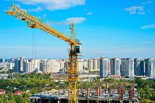 Construction site with crane, Kiev