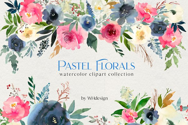 Pastel Blooms Watercolor Clipart