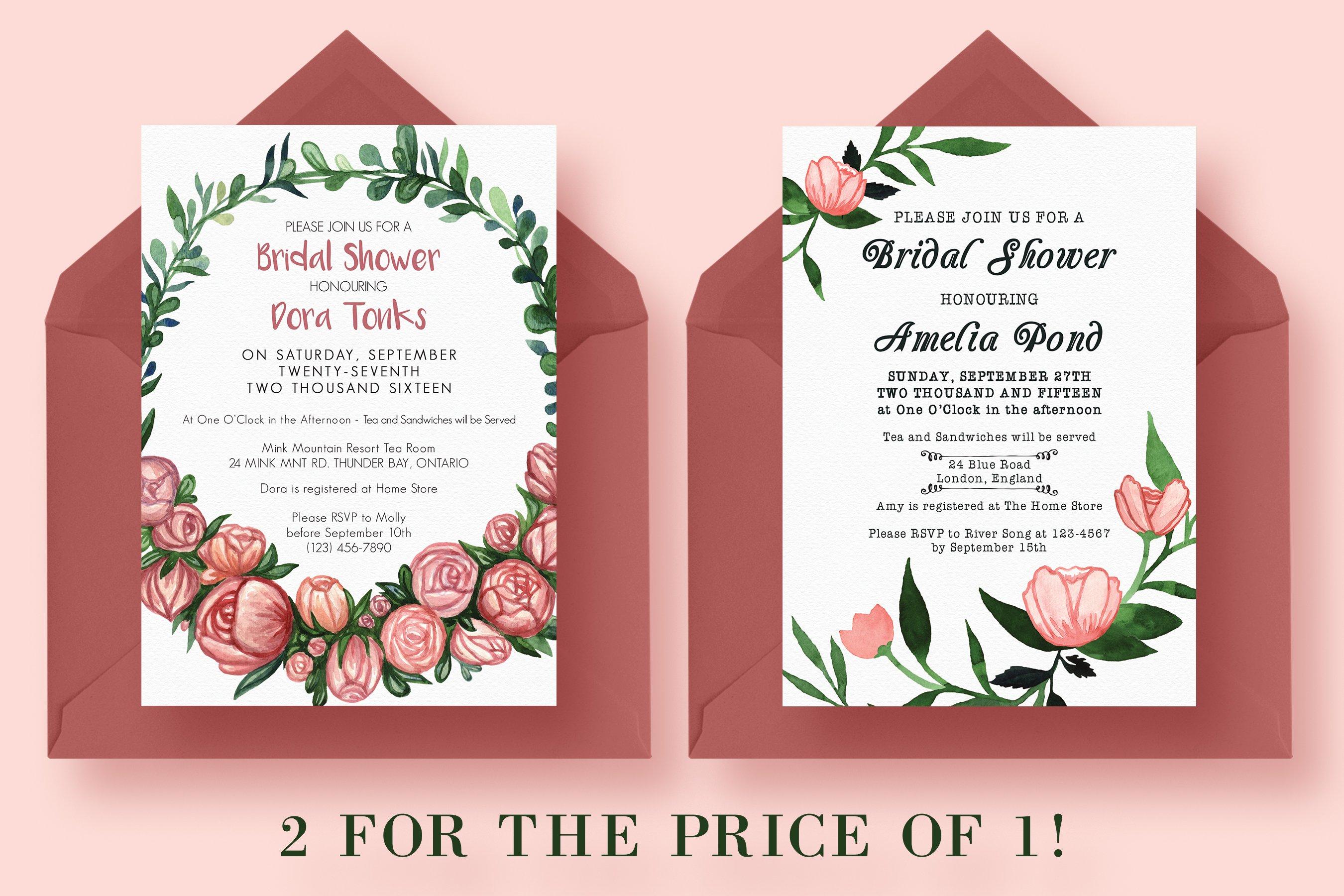 2 for 1 bridal shower invitations invitation templates creative market