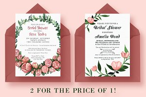 2 FOR 1 Bridal Shower Invitations