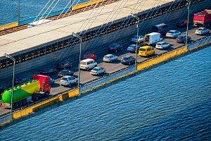 Traffic jam on a bridge.Kiev,Ukraine