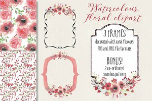 Watercolor flowers on frames: coral