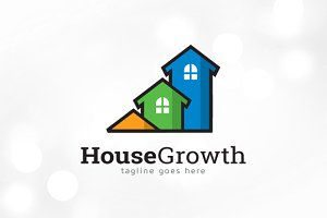 House Growth Logo Template