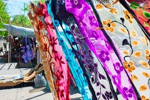 Georgian shawls waving on a wind