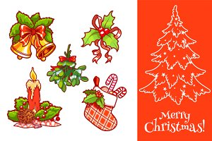 Set of vector Christmas decorations.