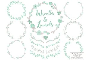 Mint and Grey Vector Flower Wreaths