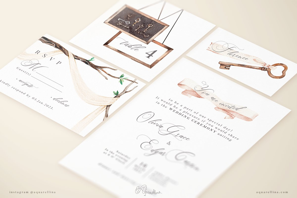 Beige Forest Wedding Invitations