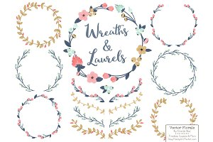Modern Chic Vector Flower Wreaths