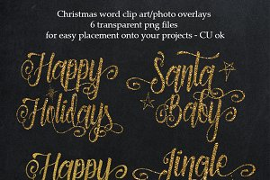Gold Christmas overlays,word clipart