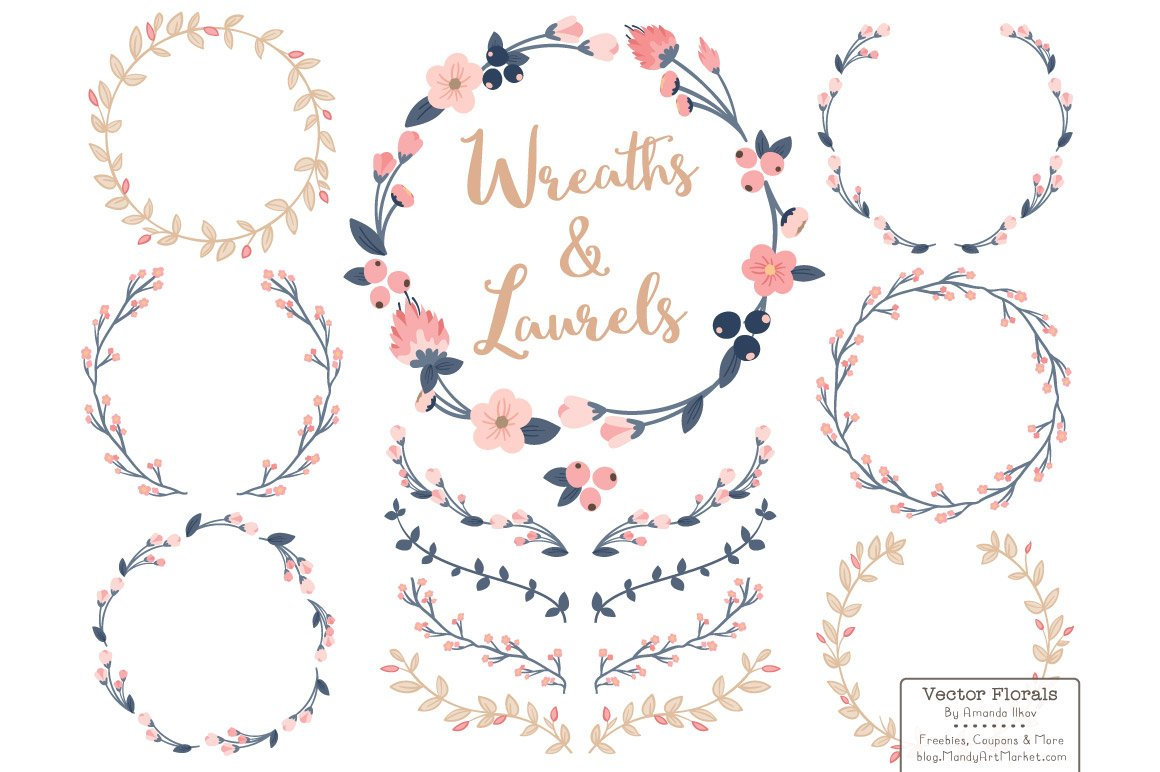 Navy & Blush Vector Flower Wreaths ~ Illustrations ...