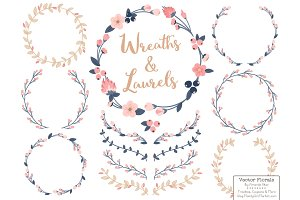Navy & Blush Vector Flower Wreaths