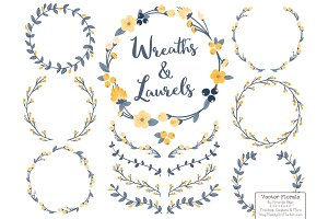 Navy & Lemon Vector Flower Wreaths