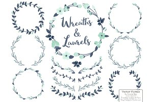 Navy & Mint Vector Flower Wreaths