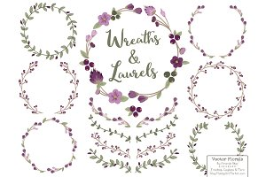 Plum Vector Flower Wreaths