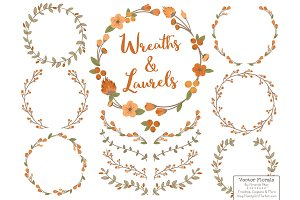 Pumpkin Vector Flower Wreaths