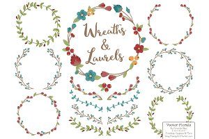 Retro Bold Vector Flower Wreaths